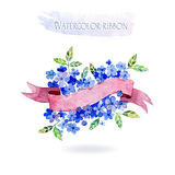 Watercolors ribbons and banners for text. Royalty Free Stock Image
