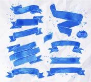 Watercolors ribbons blue Stock Images