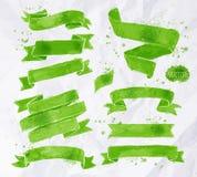 Watercolors ribbons green Stock Photography