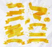 Watercolors ribbons yellow Royalty Free Stock Image