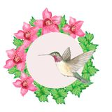 Watercolors. Round frame with flowers, leaves and caliber. Illustration for greeting cards and invitations isolated on white background royalty free illustration