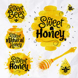 Watercolors symbols honey Stock Photos