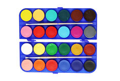 Watercolors and two brush in a box. On white background Stock Images