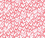 Watercolors vector seamless pattern with hearts. Valentines day, birthday, wedding background Royalty Free Stock Photography