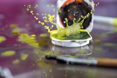 Watercolors with water drops as background pictures Royalty Free Stock Photography