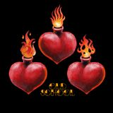 Watercolor flaming heart. Watercolorset of flaming hearts isolated on black background. Hand painted old school tattoo design. Traditional style Royalty Free Stock Image