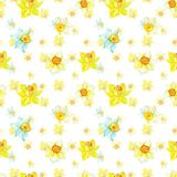Watercoloryellow floral seamless pattern on white background. Spring narcissus flowers for textile, fabric, clothes, nursery stock illustration