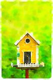 Watercolour żółty birdhouse w zielonym tle Zdjęcia Royalty Free
