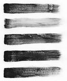 watercolour Σύνολο αφηρημένων μαύρων υποβάθρων κτυπήματος watercolor Στοκ Εικόνες