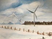 Watercolour ветрянок в winterscape Онтарио иллюстрация вектора
