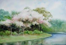 Watercolour времени весны, дизайна ландшафта картины руки стоковые изображения