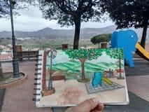Watercolour делая эскиз к в маленьком панорамном саде около Рима Стоковое Изображение RF