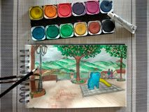Watercolour делая эскиз к в маленьком панорамном саде около Рима Стоковое Изображение