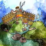 Watercolour Дэвид и Голиаф бесплатная иллюстрация