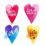 Διανυσματικές καρδιές Watercolour Στοκ Φωτογραφίες