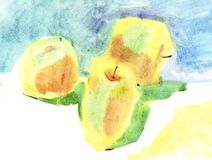Watercolour apples Stock Image