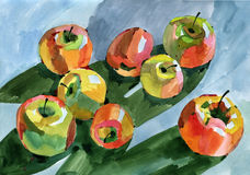 Watercolour apples Royalty Free Stock Images