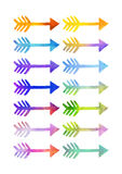 Watercolour arrows in various colours Royalty Free Stock Images