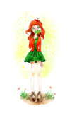 Watercolour Autumn Girl with Leaf Royalty Free Stock Photo