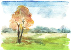 Watercolour autumn landscape Stock Photography