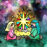 Watercolour Baby Jesus Adoration Scene. Hand drawn digital painting of Mary and Joseph adoring the Christ child on the first Christmas Stock Photography