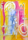 Watercolour Background. Abstract watercolour Background and ink lines on ertist paper, created and painted by the photographer Stock Image