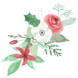 Watercolour Berry Red Green Flower Leaves Christmas Bouquet Arrangemnet Holidays Festive. Hand Painted Watercolor flowers, leaves and berries in Christmas Stock Photo