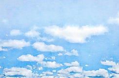 Watercolour blauwe hemel met wolken Royalty-vrije Stock Foto