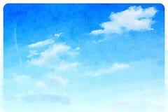Watercolour blauwe hemel met wolken Royalty-vrije Stock Afbeeldingen
