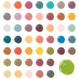 Watercolour blobs, stains, splashes. Set of colorful watercolor hand painted circle isolated on white. Fall watercolor colors vector illustration