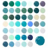 Watercolour blobs, stains, splashes. Set of colorful watercolor hand painted circle isolated on white. Winter watercolor colors stock illustration