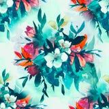 Watercolour bloemen Naadloos patroon, gevoelige bloemen, gele, blauwe en roze bloemen Stock Afbeeldingen