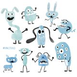 Watercolour cute monsters set. Watercolour blue cute monsters set royalty free illustration
