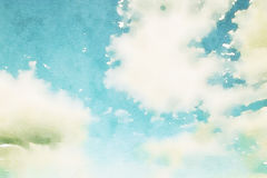 Watercolour blue sky with clouds Stock Photo