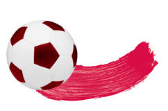 Watercolour Blush and one soccer ball. Red watercolour Blush and one soccer ball isolated on white background royalty free stock photography