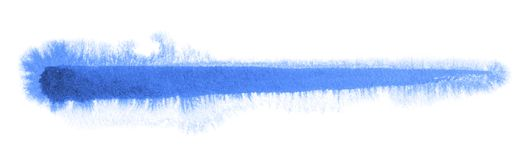 Watercolour brush stroke. A blue watercolor brush stroke in white back Royalty Free Stock Images