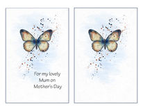 Watercolour, Mothers Day Card, Butterfly Set. Two abstract watercolour butterfly cards, one with text `For my lovely mum on mother`s day` and the other left vector illustration