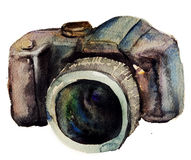 Watercolour camera Royalty Free Stock Images