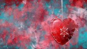 Watercolour Christmas decoration red heart on the background of coloured blots.