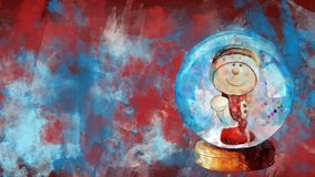 Watercolour Christmas decoration snow globe on the background of coloured blots.
