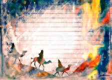 Watercolour Christmas Wise Men Paper Royalty Free Stock Image