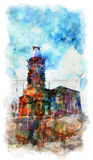 Watercolour church. Watercolor orthodox not completed church Stock Photo