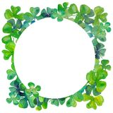 Watercolour clover leaves round frame