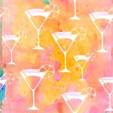 Watercolour-Cocktail-Design stock abbildung