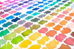 Watercolour colour palette in yellow, orange, green, blue and vi Royalty Free Stock Images