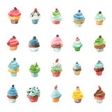 Watercolour cupcake inzameling Stock Afbeelding