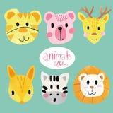 Watercolour cute animal faces, lion, tiger, bear, deer, horse, fox royalty free illustration