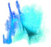 Watercolour de la gota de la pintura de la tinta azul de la acuarela del arte Fotografía de archivo