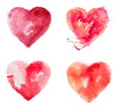 Watercolour de la pintura del corazón del amor Fotos de archivo