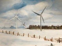 Watercolour de molinoes de viento en el winterscape de Ontario ilustración del vector